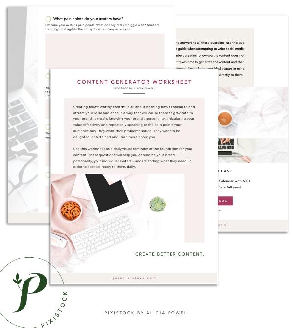 Pixistock Content Generator Worksheet